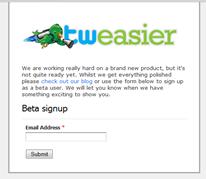 Tweasier sign up